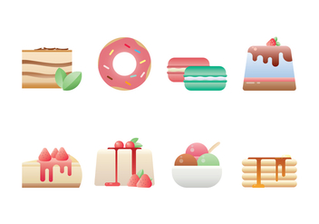 Delicious Dessert Icon Set - vector gratuit #443589