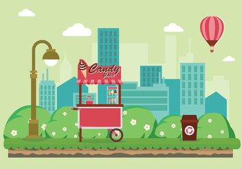 Candy Floss Food Cart in the City Illustration - Free vector #443599