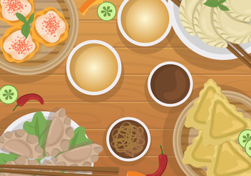 Dumplings For Dinner Vector - vector gratuit #443609