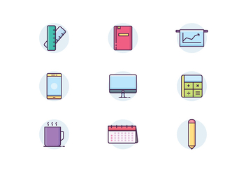 Icon pack of Office Items - vector #443669 gratis