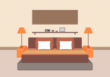 Modern Bedroom Furniture Vector - Free vector #443849