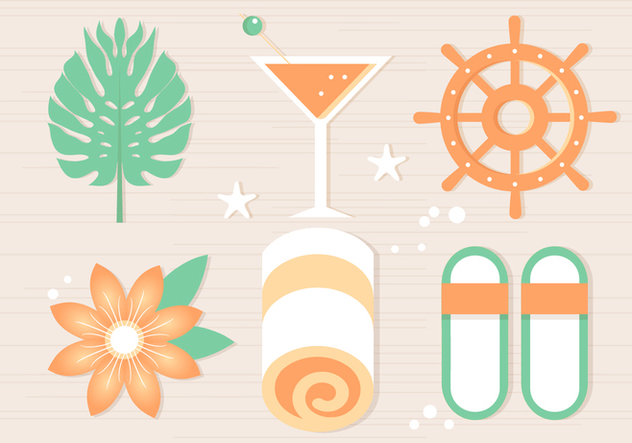 Free Summer Beach Elements Background - Free vector #443869