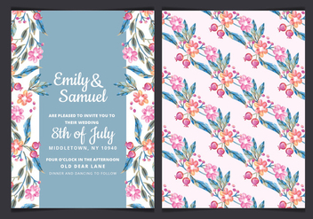 Vector Colorul Branches Wedding Invite - vector gratuit #443879