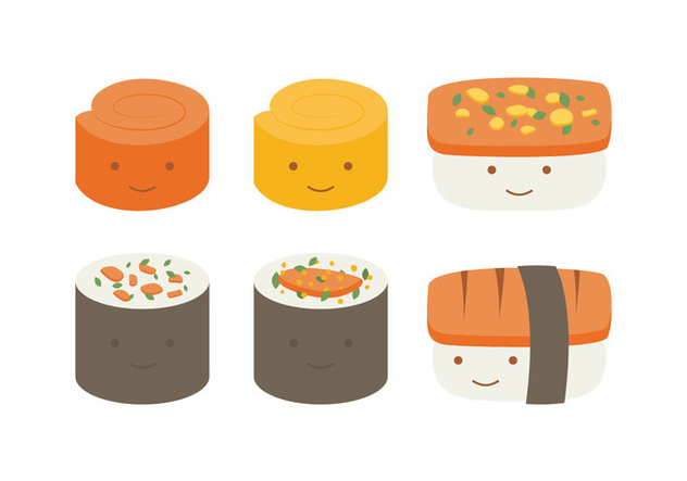 Cute Temaki Collection - бесплатный vector #443909