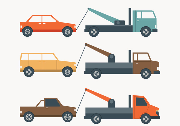 Towing Truck Simple Illustration - Free vector #444019