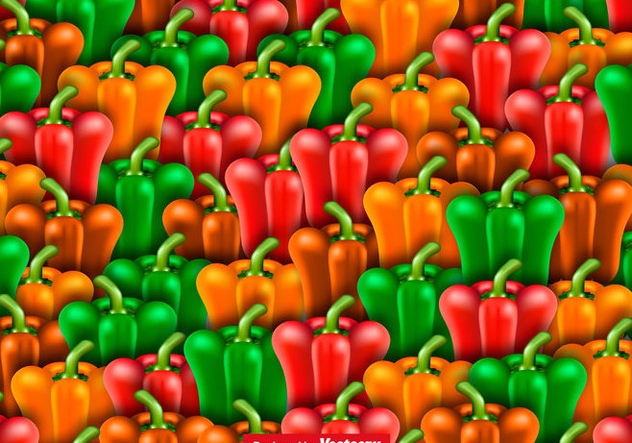 Vector Seamless Pattern Of Peppers - vector gratuit #444029