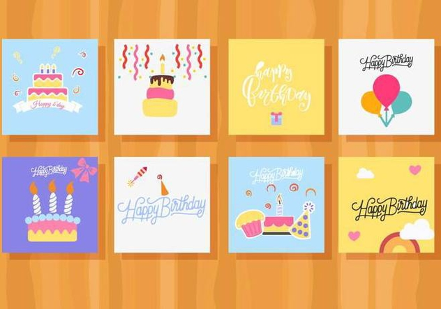 Free Birthday Card Collection Vector - Free vector #444079