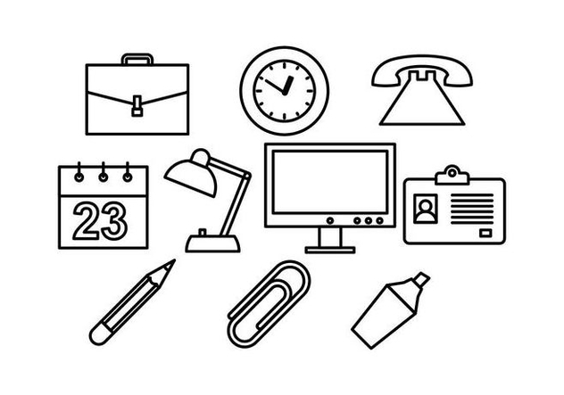 Free Office Line Icon Vector - Kostenloses vector #444109