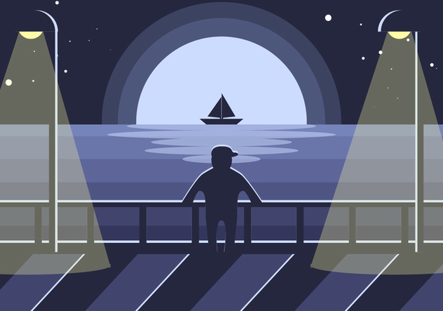 Boardwalk Night Illustration Vector - Free vector #444279