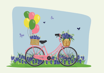 Bike Spring Bluebonnet Flowers Illustration - бесплатный vector #444289