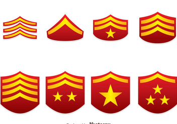 Red Military Rank Emblem Vectors - бесплатный vector #444309