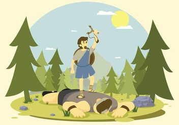 Free Goliath Defeated by David Illustration - бесплатный vector #444329