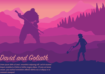 David and Goliath Vector Background - Free vector #444349