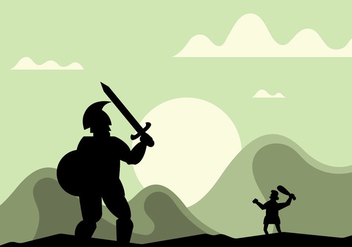 David and goliath vector illustration - бесплатный vector #444359