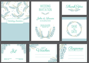 Bluebonnet wedding card template - vector #444369 gratis