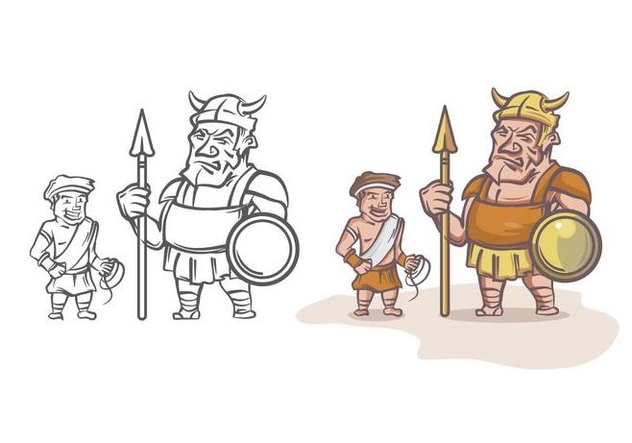 David and Goliath Cartoon Character - vector gratuit #444379