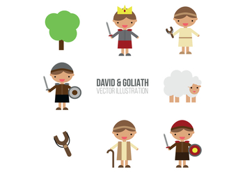 David & Goliath Set Of Flat Illustrations - Free vector #444389