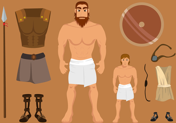 David And Goliath Set Free Vector - Free vector #444399