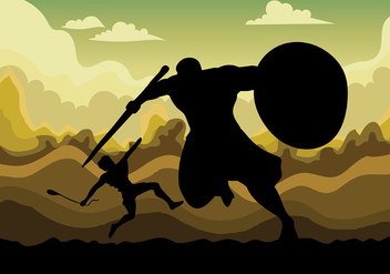 David and Goliath Vector Background - бесплатный vector #444419