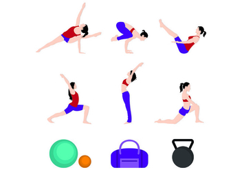 Set Of Woman Sport Icons - Free vector #444499
