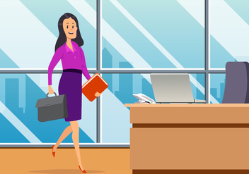 Business Woman In Office Vector - vector gratuit #444509