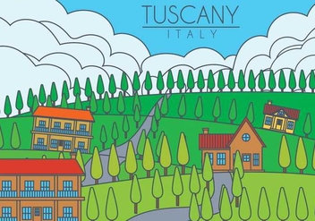 Tuscany landscape vector illustration - бесплатный vector #444569