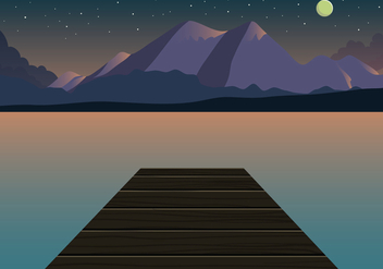 Sunset Mountain Landscape Vector - vector gratuit #444579
