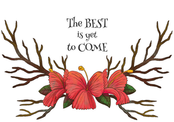 Watercolor Horns With Red Flowers And Motivational Quote Vector - бесплатный vector #444619
