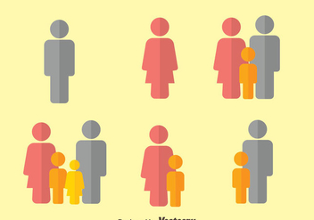 Family Flat Icons Vector - бесплатный vector #444689