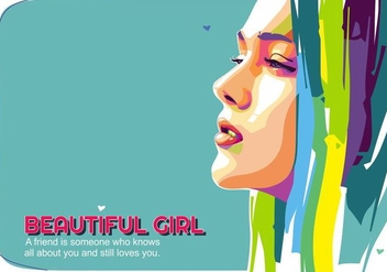 Beautiful Girl Vector Popart Portrait - vector gratuit #444719