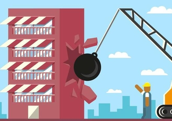 Demolition Building Breaking Ball Illustration Vector - vector gratuit #444799
