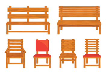 Wooden Lawn Chair Vectors - vector gratuit #444939