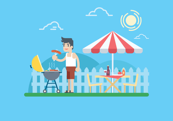 Summer Barbecue Illustration - Free vector #444999