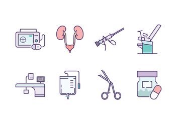 Urology Icon Set - vector #445059 gratis