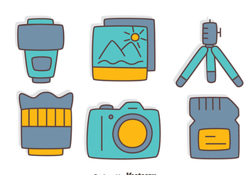 Hand Drawn Camera Element Collection Vector - vector gratuit #445079