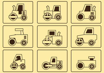 Road Roller Line Icon Set - vector #445099 gratis