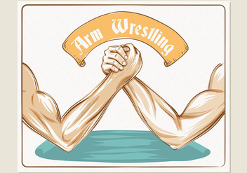 Colorful Arm Wrestling Illustration Template - Free vector #445119