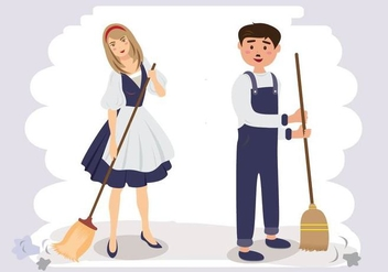 Couple Sweeping Cartoon Vector - Free vector #445189