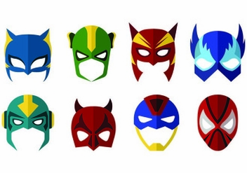 Vector Of Super Hero Masks - бесплатный vector #445199