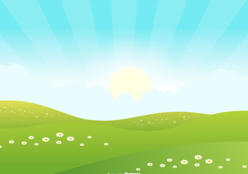 Cute Landscape Scene Background - Free vector #445289