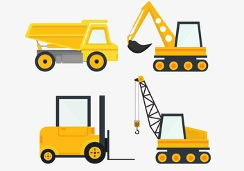 Construction Vehicles Vector - vector gratuit #445479