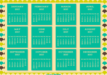 Cute Retro Style 2017 Calendar Background - vector #445509 gratis