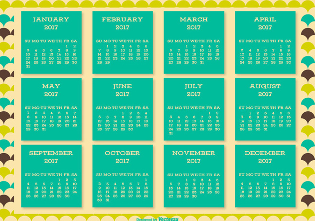 Cute Retro Style 2017 Calendar Background - Kostenloses vector #445509