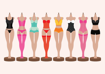Lingerie and Bustiers on Mannequin Vectors - Free vector #445579