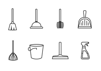Cleaning tools set icon vectors - Free vector #445599