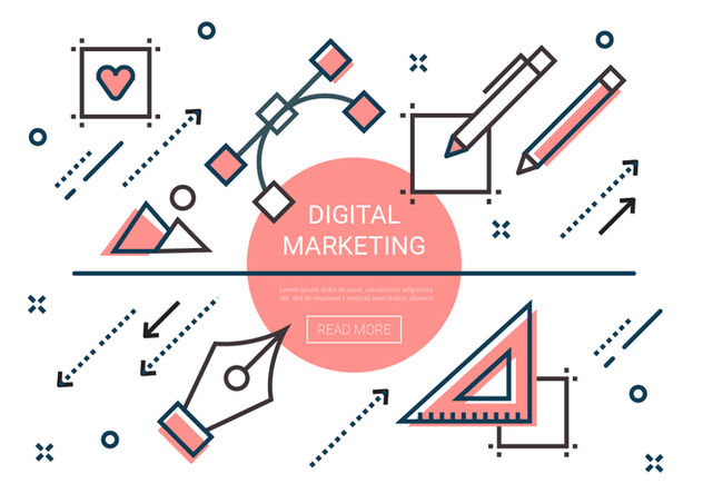 Free Linear Digital Marketing Elements - vector gratuit #445649