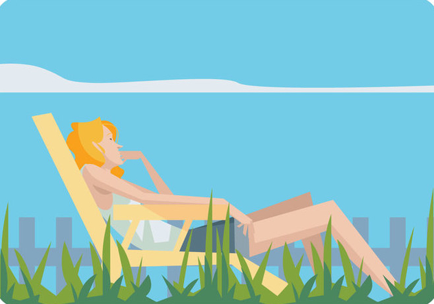 Girl Relaxing in a Lawn Chair Vector - бесплатный vector #445689