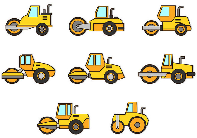 Set Of Steamroller Icons - Free vector #445769