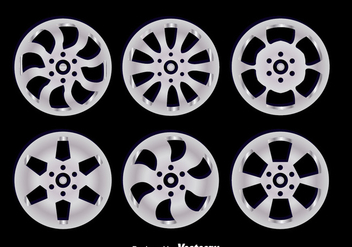 Alloy Wheels On Black Vectors - vector gratuit #445809