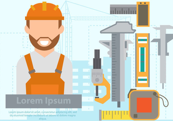 Construction Engineer With The Equipment - vector gratuit #445849